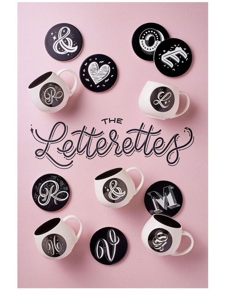 """The Letterettes Ceramic Round Coaster 10.5cm """"W"""" Gift Boxed image 2"""