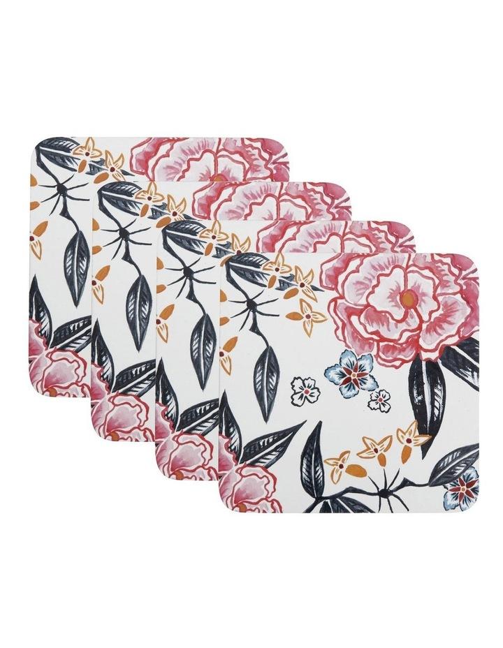 Peony Cork Back Coaster 10.5cm Set of 4 Gift Boxed image 1