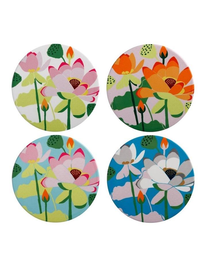 Royal Botanic Gardens Lotus Ceramic Round Coaster 10cm Set Of 4 image 1