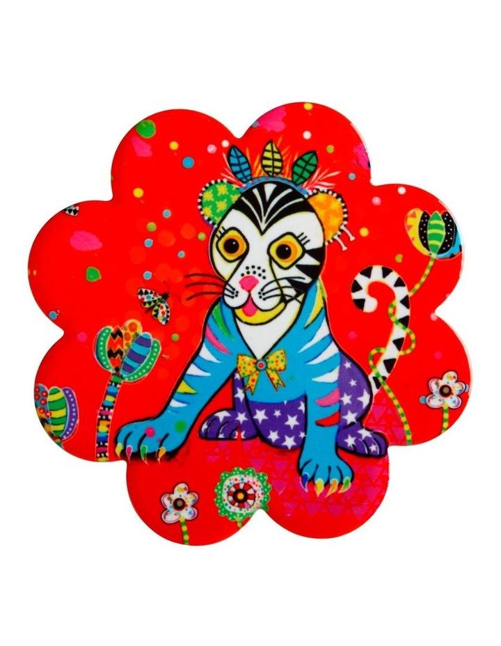 Donna Sharam Rainbow Jungle Ceramic Flower Coaster 10cm Glamour Puss image 1