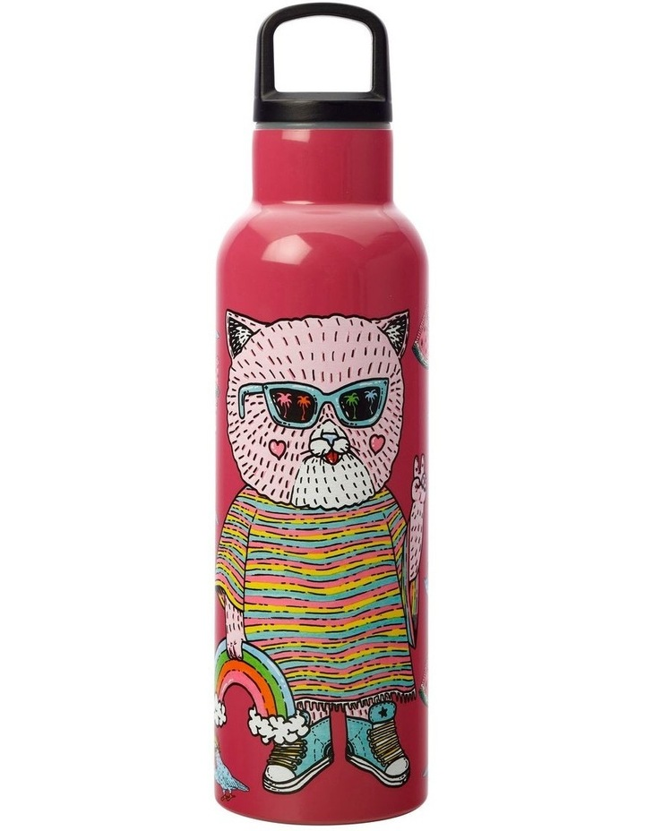 Mulga the Artist Double Wall Insulated Bottle 600ML Cat image 1