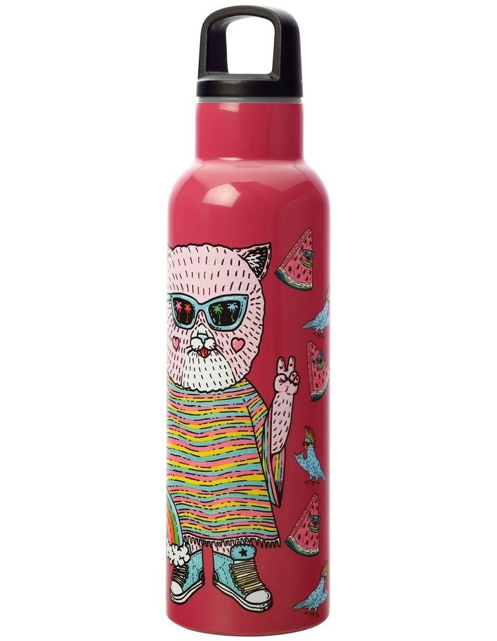 Mulga the Artist Double Wall Insulated Bottle 600ML Cat image 2