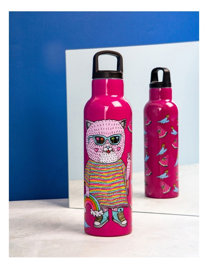 Mulga the Artist Double Wall Insulated Bottle 600ML Cat image 3