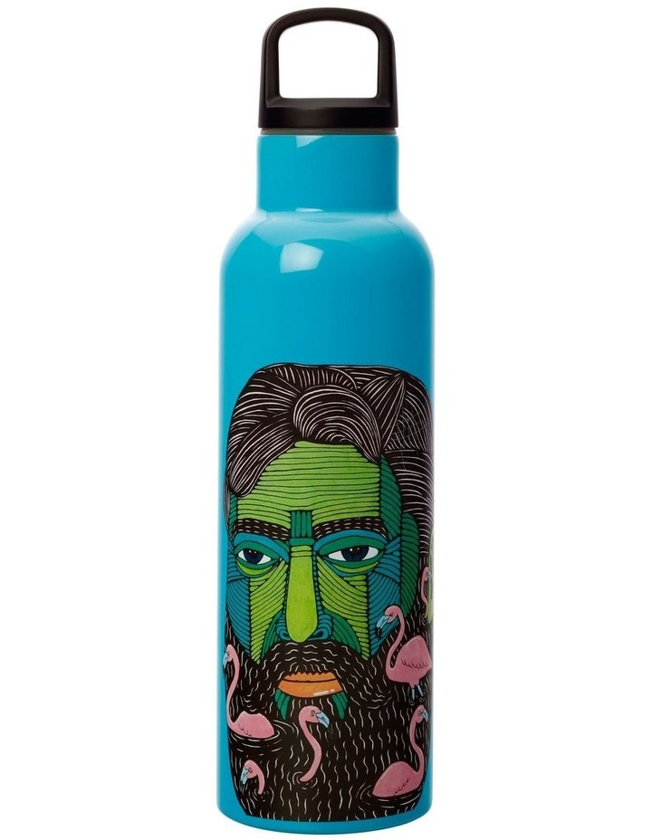 Mulga the Artist Double Wall Insulated Bottle 600ML Flamingo Man image 1