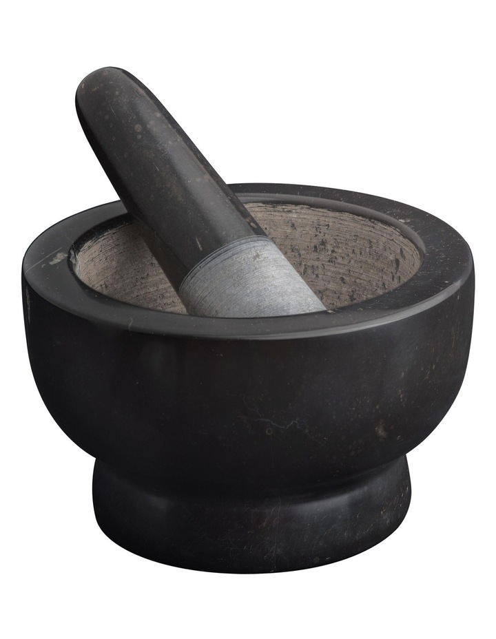 Marble Footed Mortar and Pestle  13cm - Black image 1