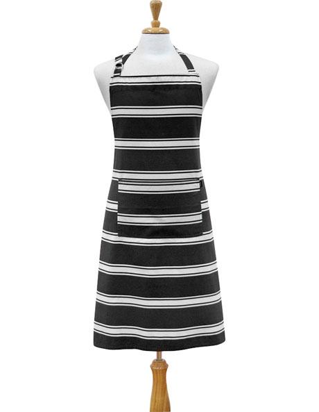 Butcher Stripe Apron - Black image 1