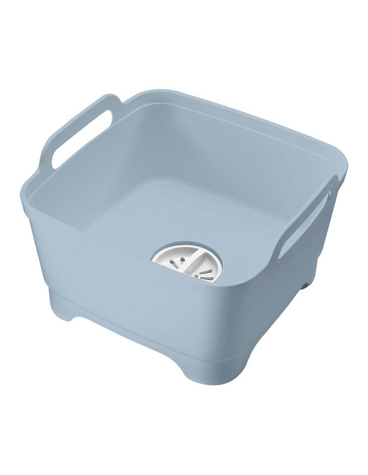 Wash&Drain Washing Up Bowl with Plug - Grey/Blue image 1