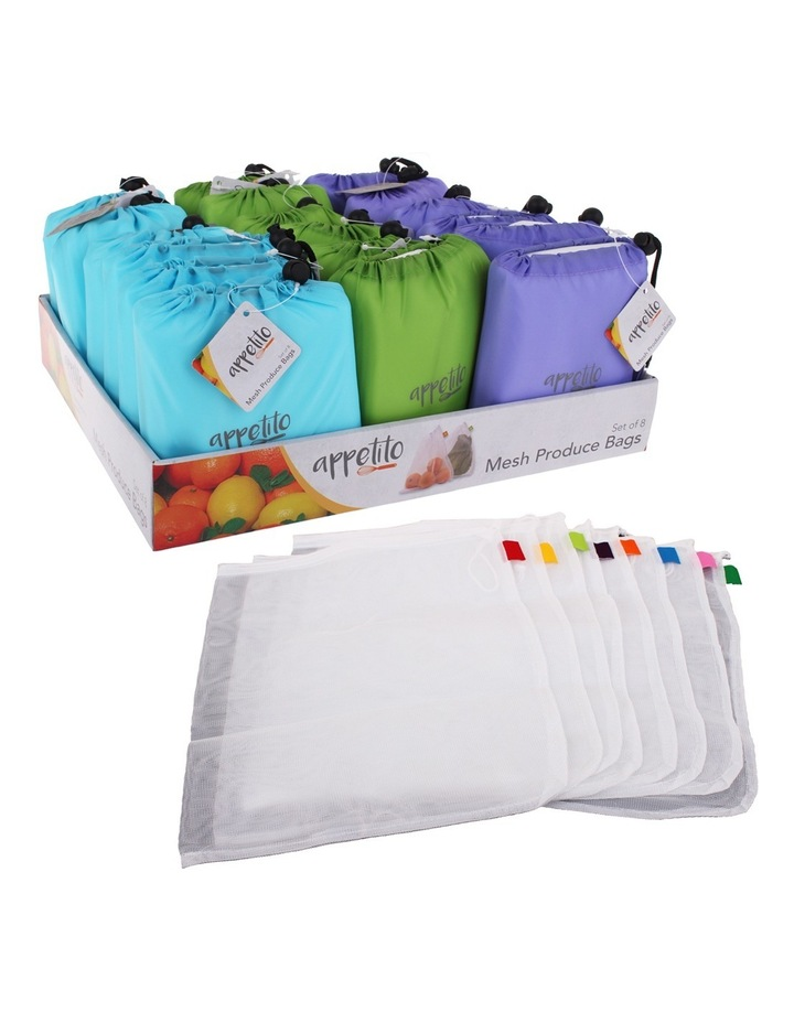 Mesh Bags Set 8 W/Reusable Pouch-Assorted image 1