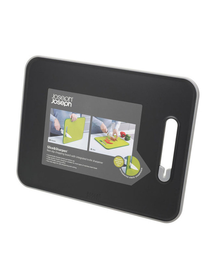 Slice&Sharpen Chopping Board with Integrated Knife Sharpener - Black image 1