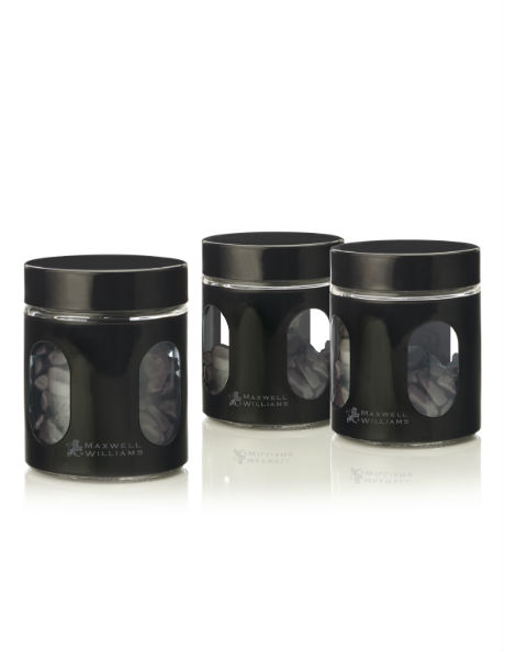 Cosmopolitan Colours Canister, Set of 3 Gift Boxed, 600ml - Black image 1