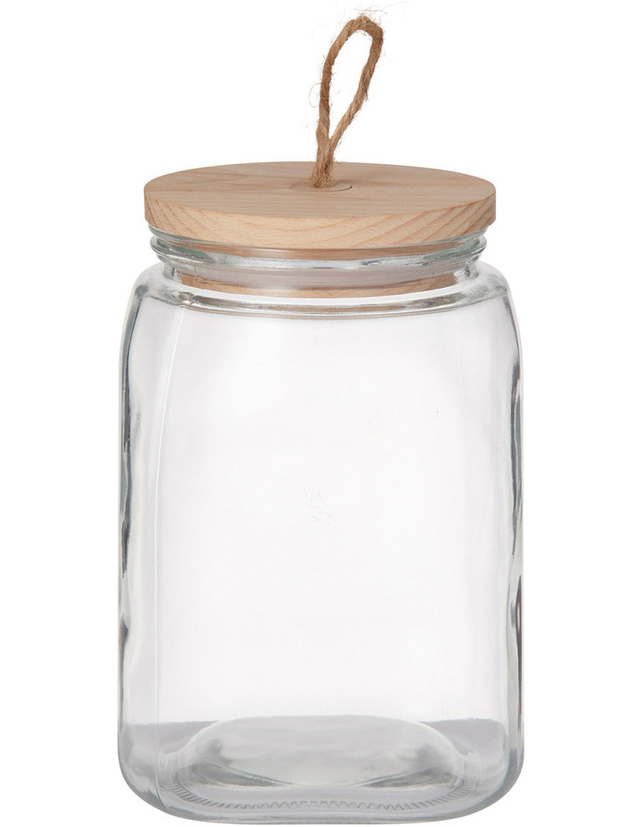 Square Glass Canister with Beech Wood Lid image 1