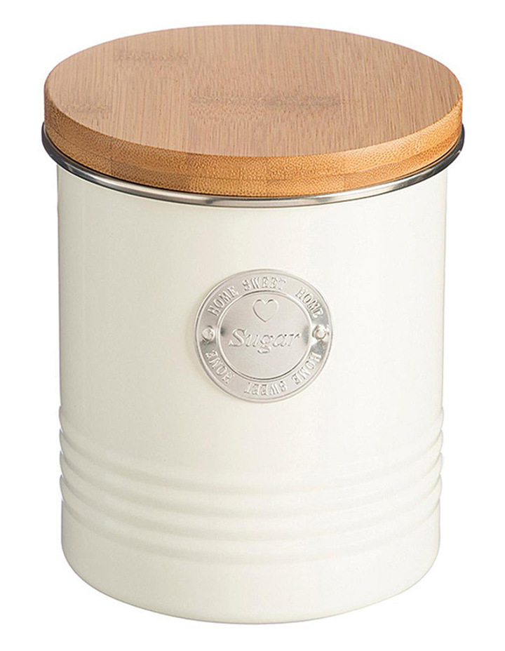 Living Sugar Canister with Bamboo Lid - Cream image 1