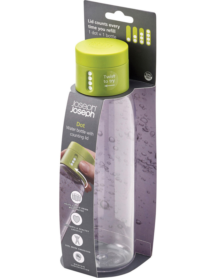 Dot Titan 600ml Drink Bottle with Hydration Counting Lid - Green image 2