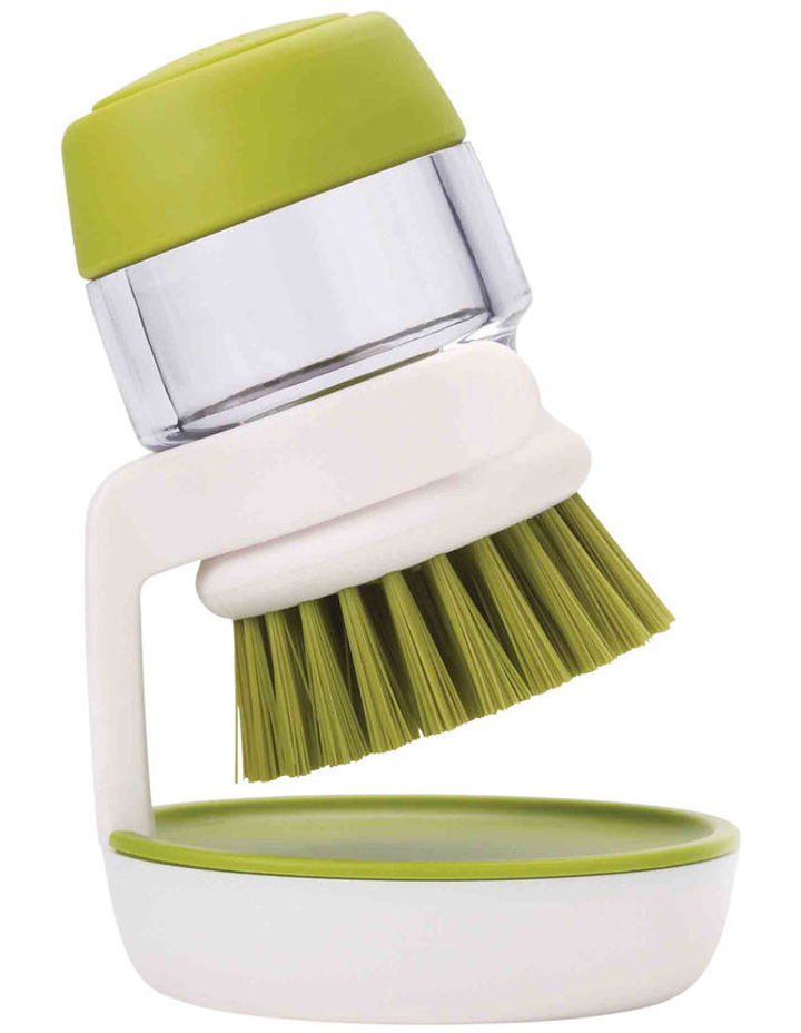Palm Scrub Soap Dispensing Washing-up Brush with Stand - Green image 1