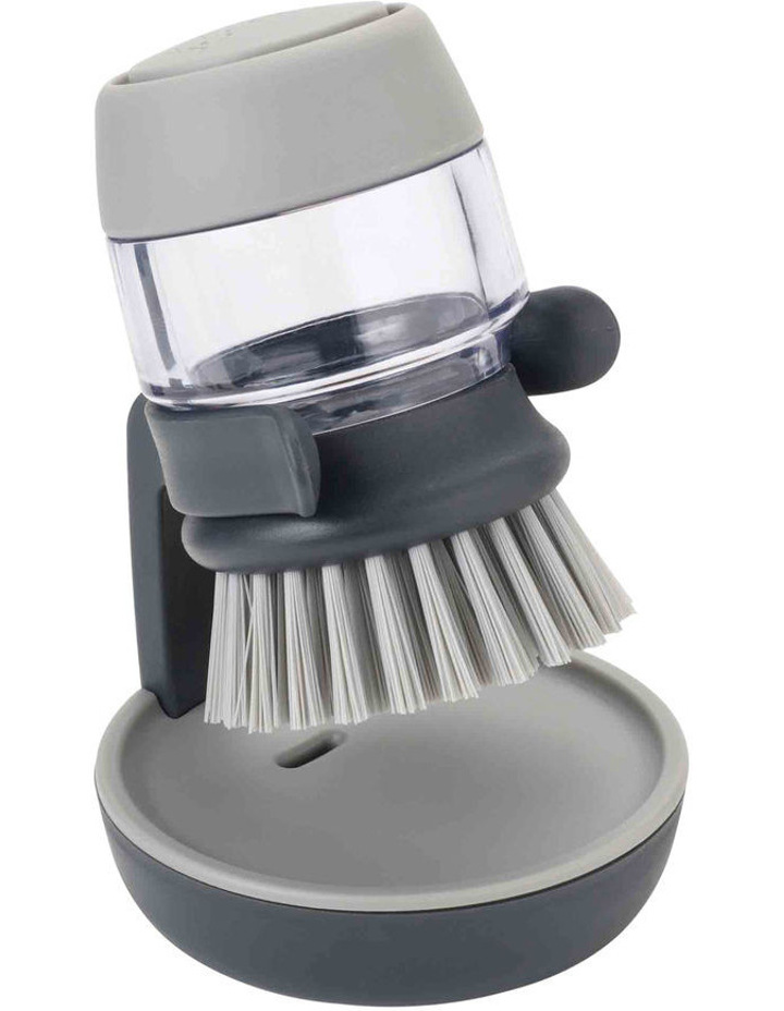 Palm Scrub Soap Dispensing Washing-up Brush with Stand - Green image 3