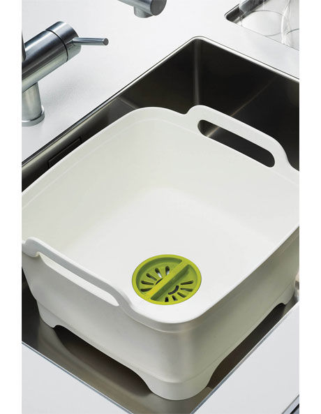 Wash&Drain Washing Up Bowl with Plug - White/Green image 1