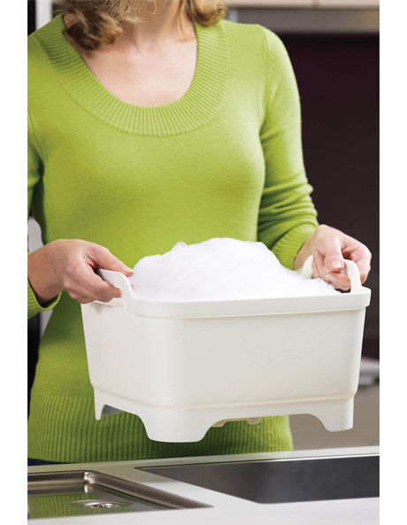 Wash&Drain Washing Up Bowl with Plug - White/Green image 3
