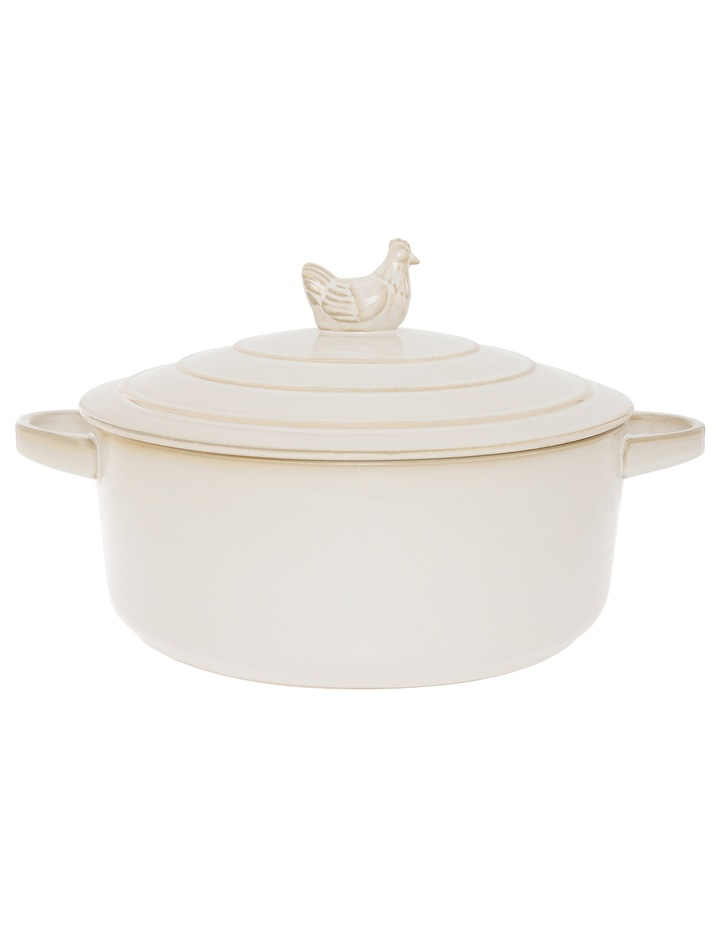 Farmhouse Antique White 3.1L Large round casserole with lid image 1