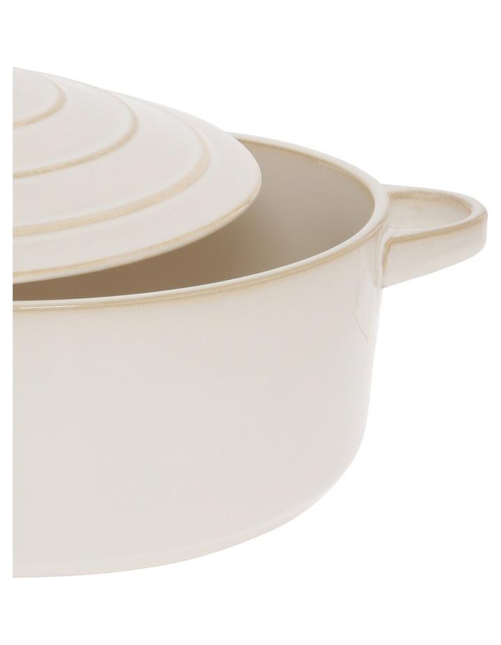 Farmhouse Antique White 3.1L Large round casserole with lid image 2