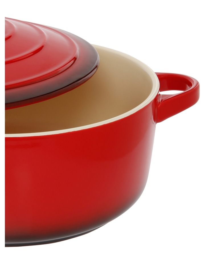 Farmhouse Gradiant Red 3.1L Large round casserole with lid image 2