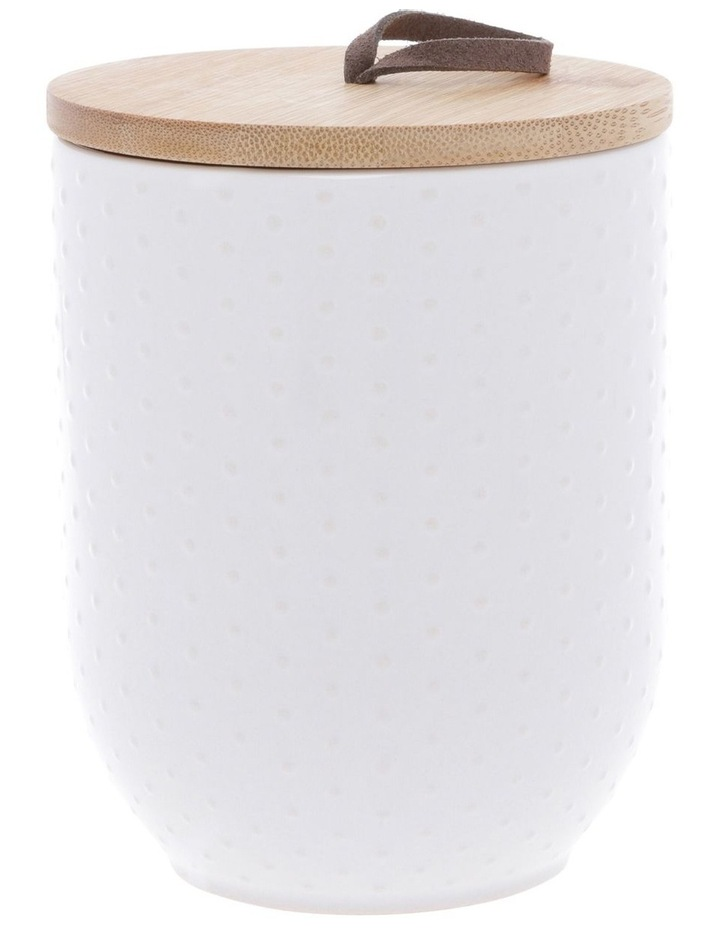 Dots Embossed Canister 10.5cm x 17.7cm Medium - White image 1