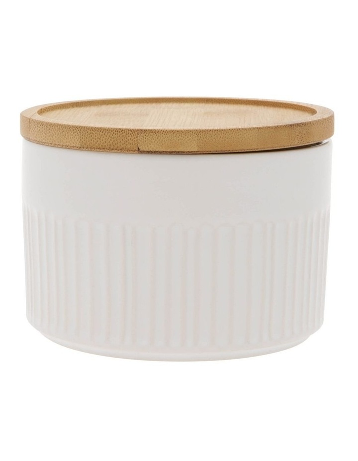 Illusion White Canister With Wooden Lid image 1