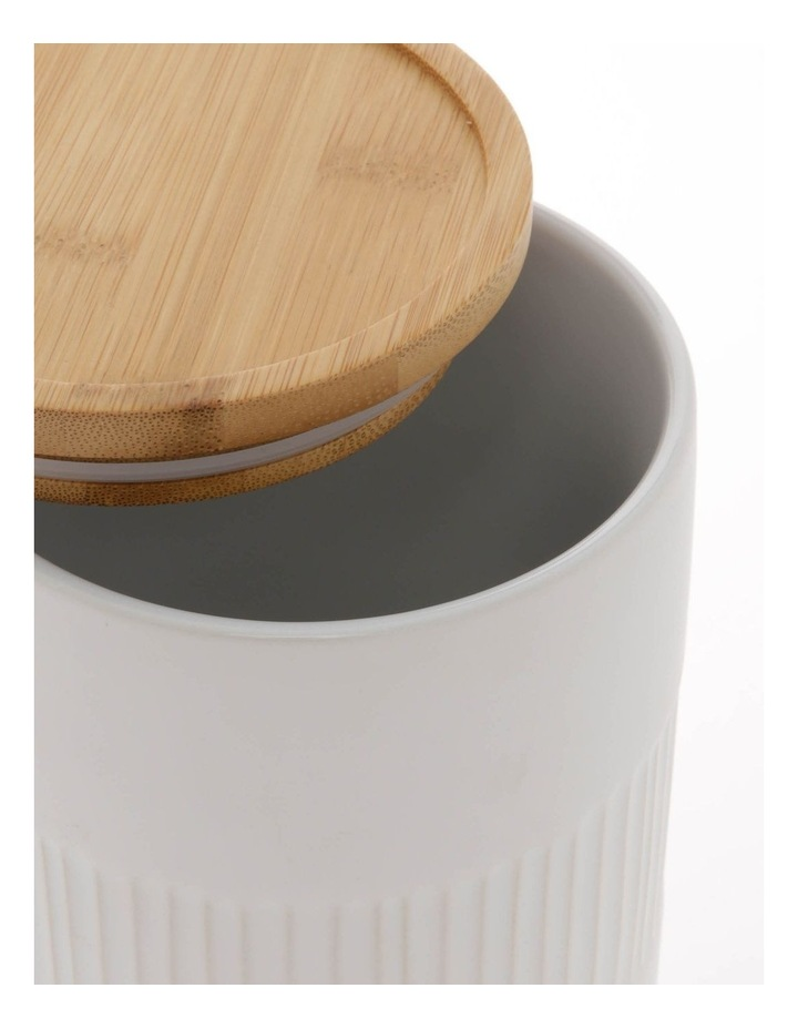 Illusion White Canister With Wooden Lid image 2