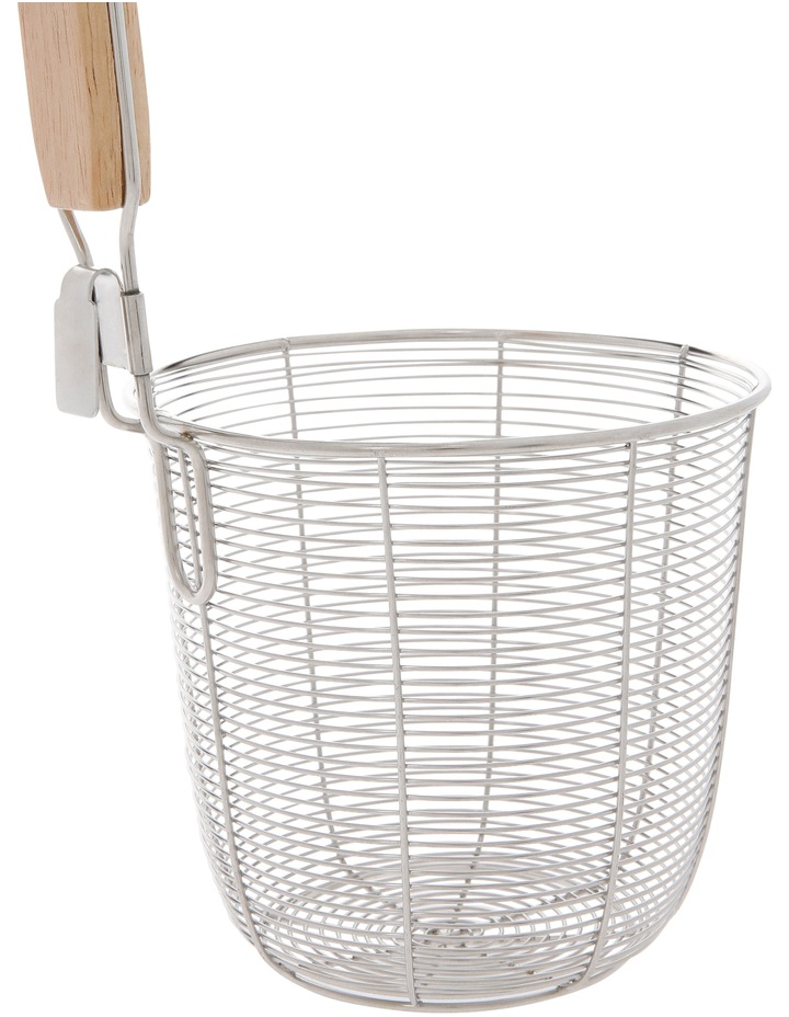 Wire Deep Basket With Rubber Wood Handle image 2