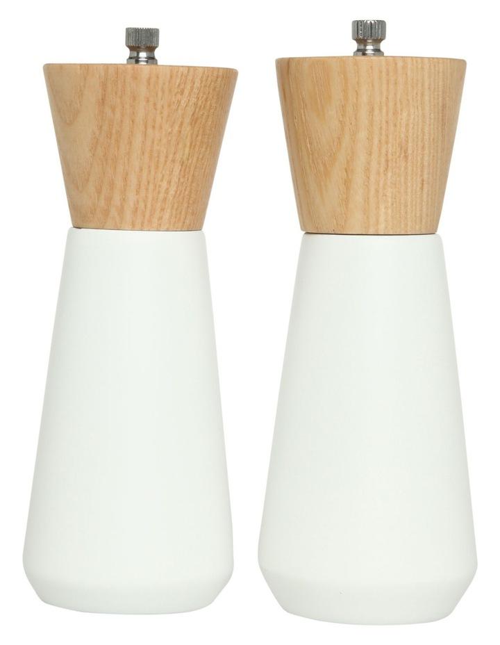 Salt and Pepper Set With Oak Wood Base image 1