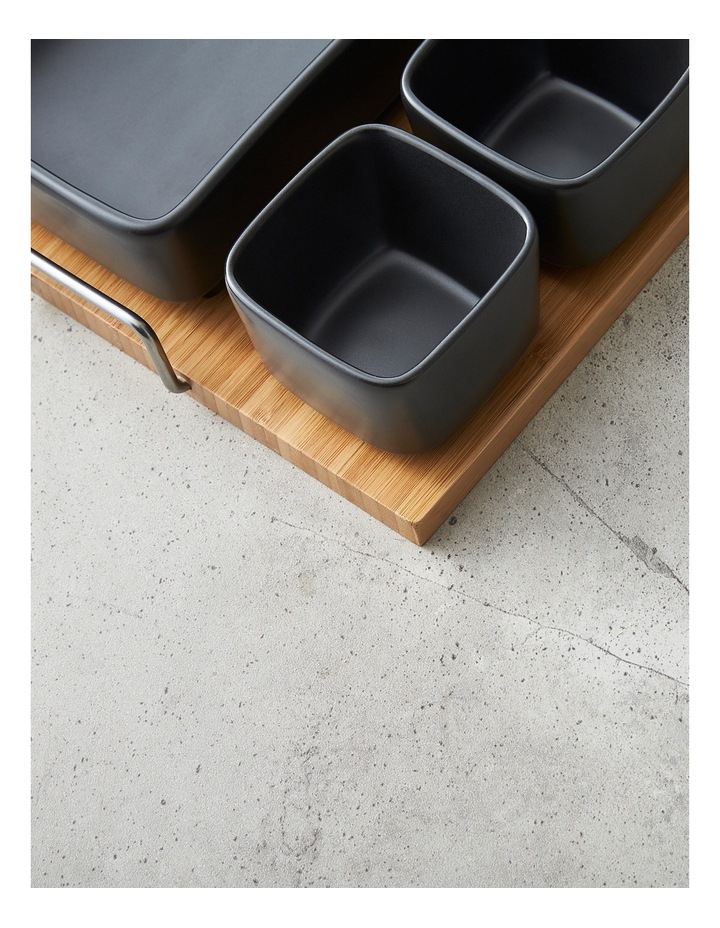 5 Piece Stoneware Serving Set with Bamboo Tray image 4