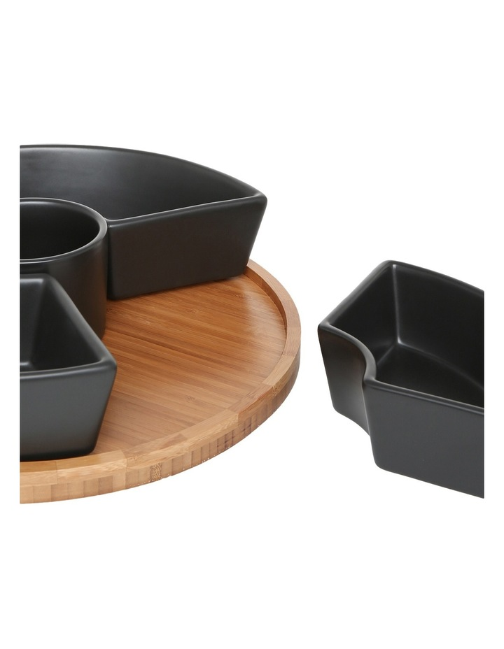 6 Piece Stoneware Chip & Dip Set with Rotating Bamboo Tray image 2