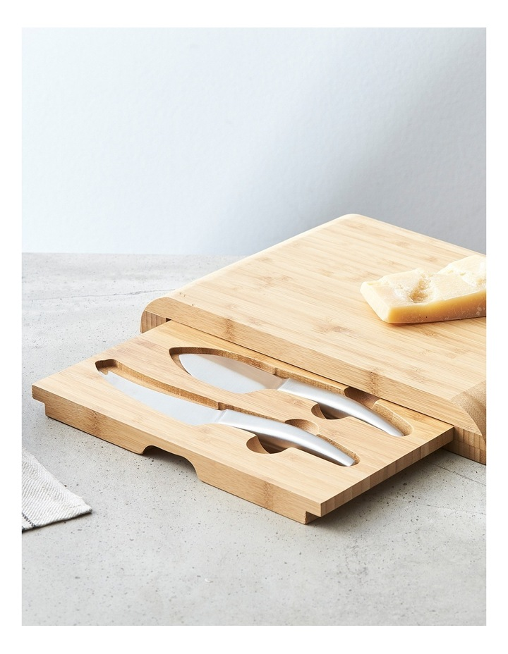 Bamboo Cheese Board with Drawer & 2 Piece Knife Set image 2