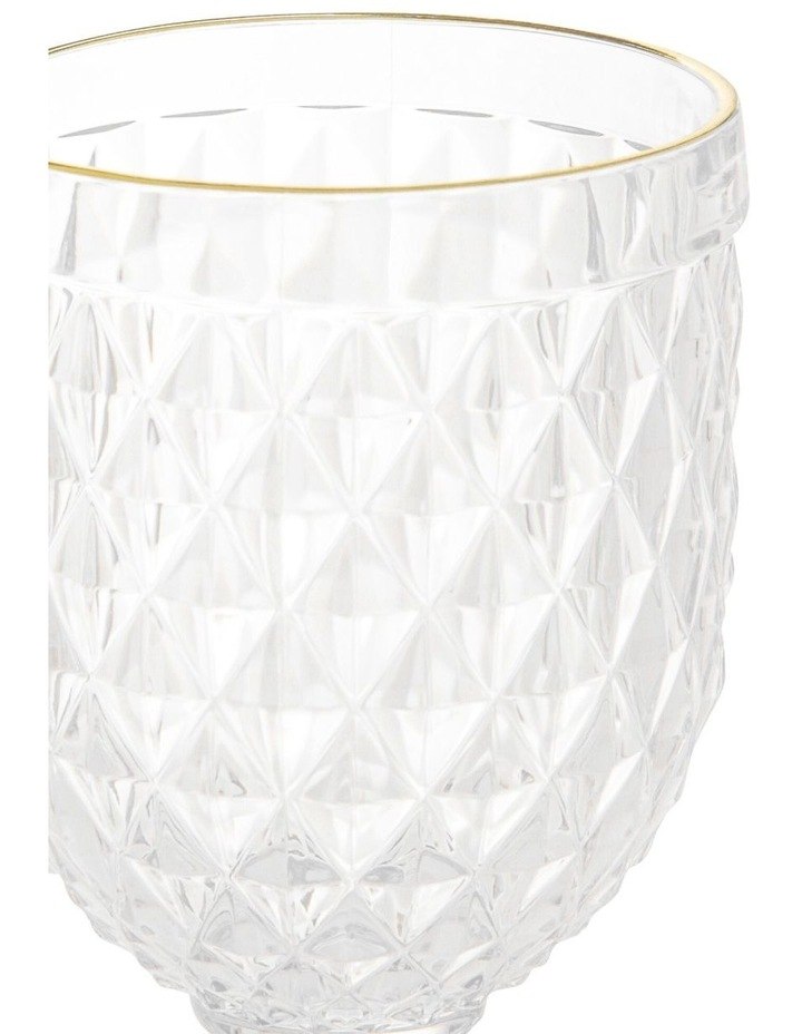 Acrylic Diamond Wine Glass with Gold Rim - Set of 4 image 2