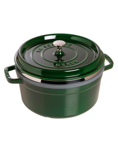 Cast Iron 26cm/5.2L Round Cocotte With Steamer - Basil Green: Made in France image 1