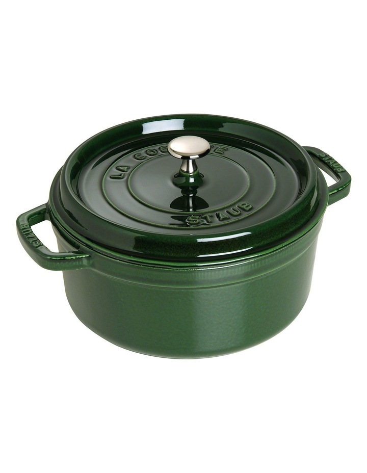 Cast Iron Round Cocotte - Basil Green: Made in France image 1