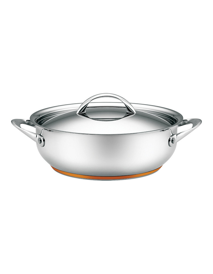 Per Vita Stainless Steel Copper 28cm/5.2L Deep Covered Sautepan: Made in Italy image 1