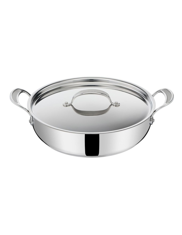 Cooks Classic Non-Stick Induction Stainless Steel Shallowpan   lid 30cm image 1