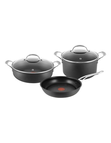 Jamie Oliver Tefal Premium Hard Anodised Induction 3 Piece Set - 28cm Frypan 30cm Pot Roast 30cm & 24cm Stew Pot