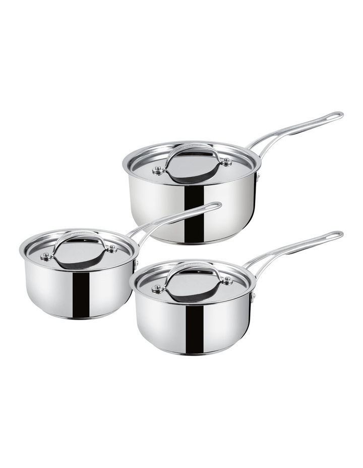 Premium Stainless Steel 3 Piece Saucepan Set image 1