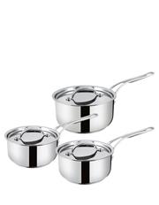Premium Stainless Steel 3 Piece Saucepan Set