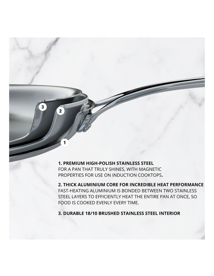 Per Sempre Stainless Steel 26cm Induction Open French Skillet image 2