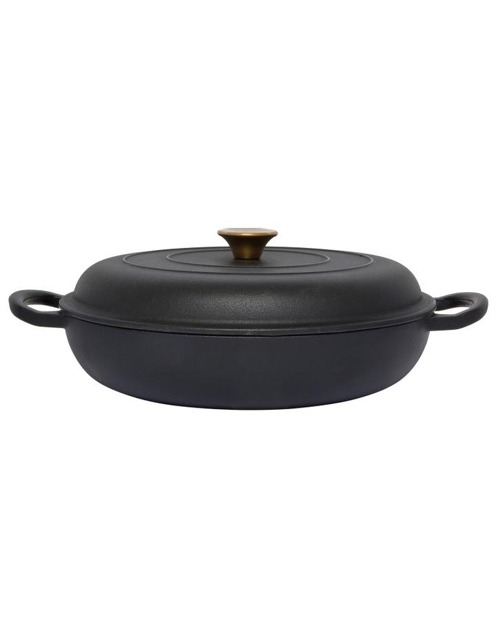 30cm/3L Cast Iron Shallow Casserole Black W Gold Knob image 1
