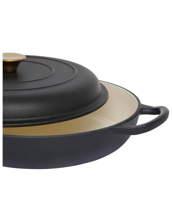 30cm/3L Cast Iron Shallow Casserole Black W Gold Knob image 2