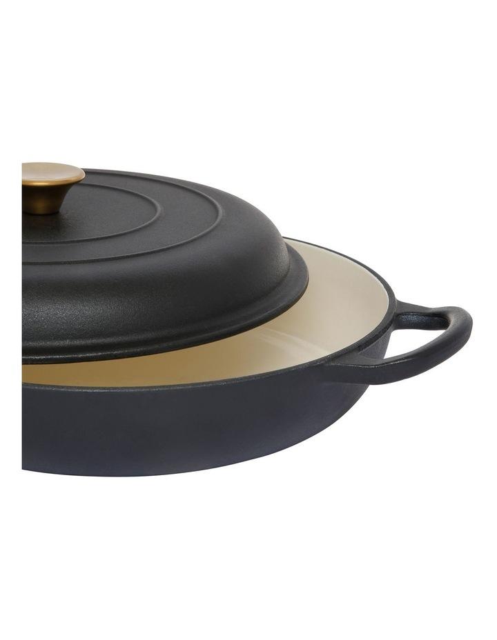 Cast Iron Shallow Casserole Black with Gold Knob 30cm/3L image 2