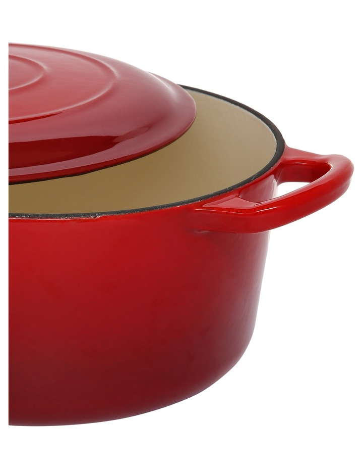 23cm/3.3L Cast Iron Casserole Red W Gold Knob image 2