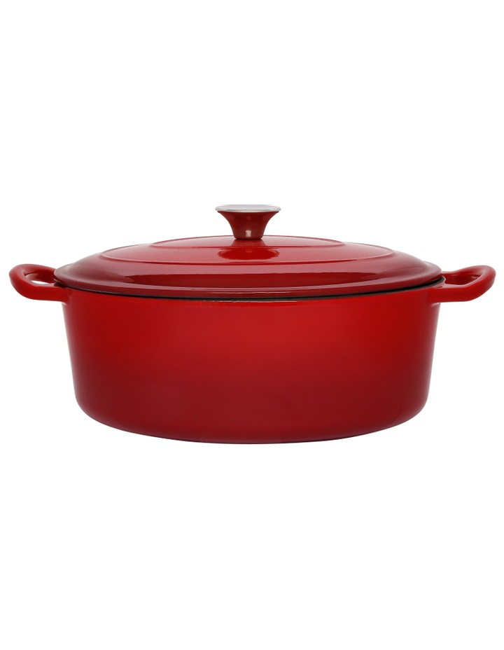 30cm/4.2L Cast Iron Casserole Red W Gold Knob image 1