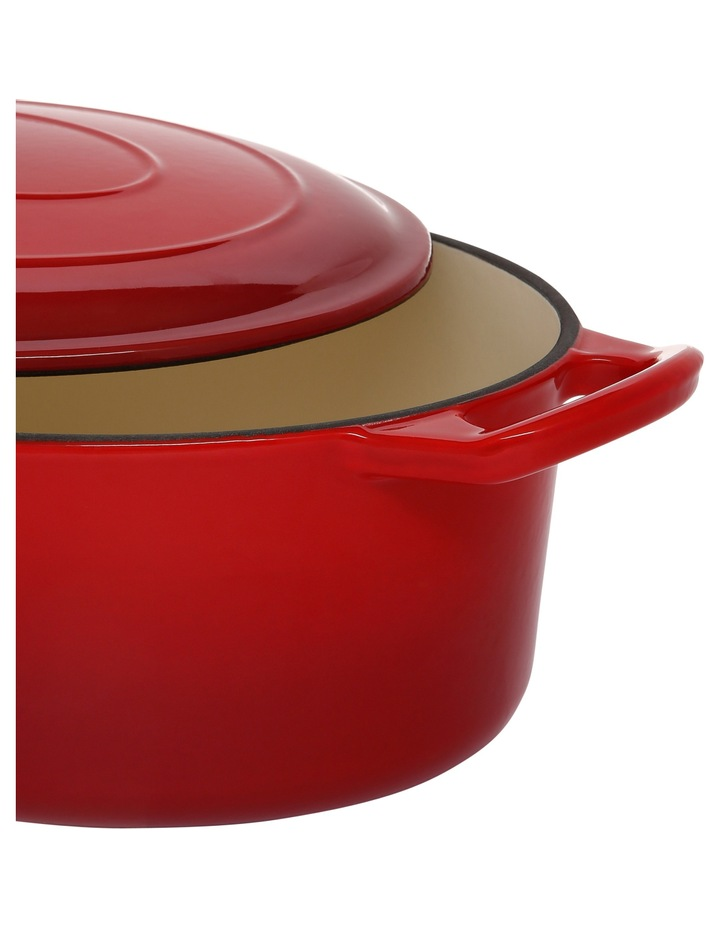 30cm/4.2L Cast Iron Casserole Red W Gold Knob image 2