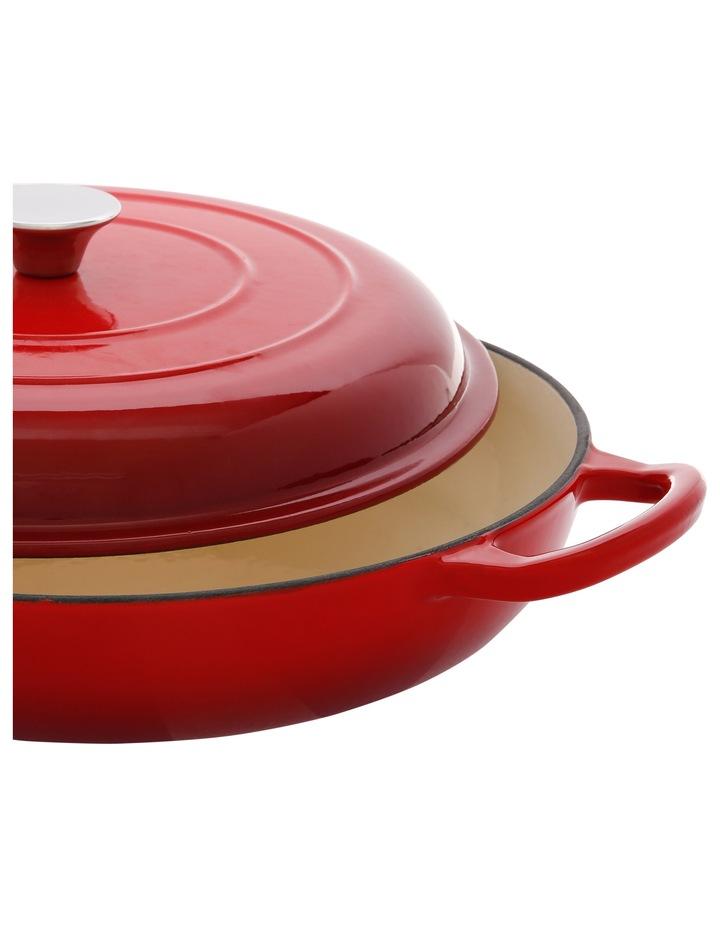 30cm/3L Cast Iron Shallow Casserole Red W Gold Knob image 2