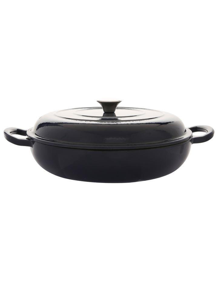 30cm/3L cast iron shallow casserole navy w gold knob image 1