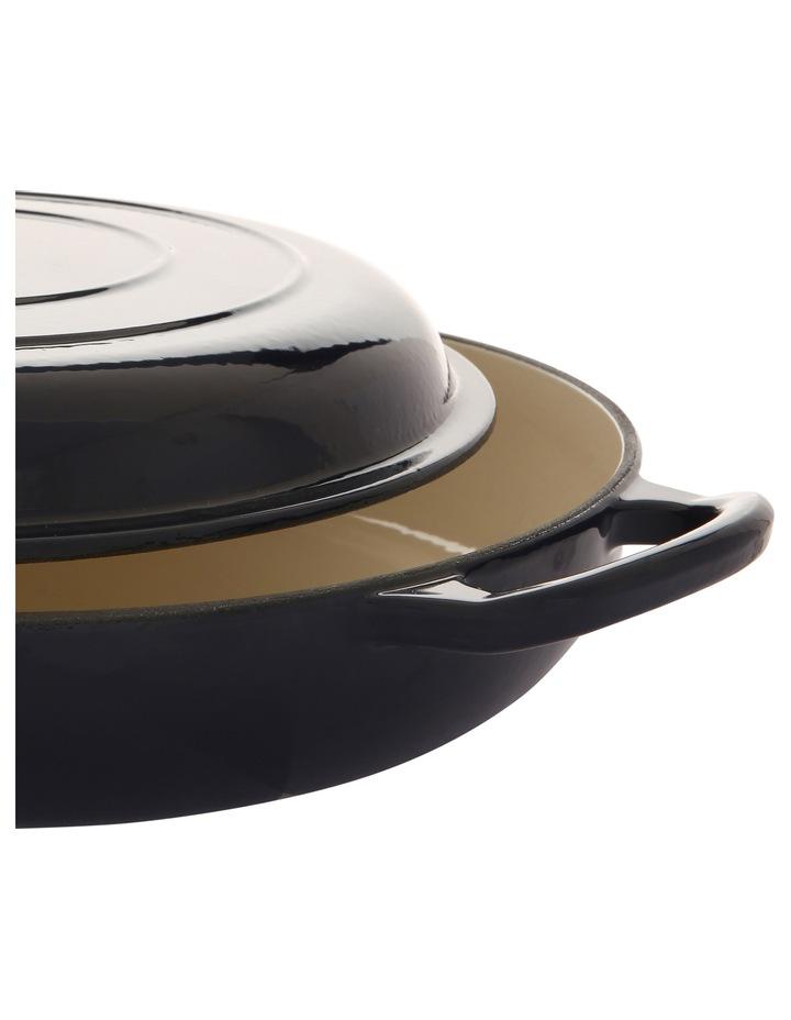 30cm/3L cast iron shallow casserole navy w gold knob image 2
